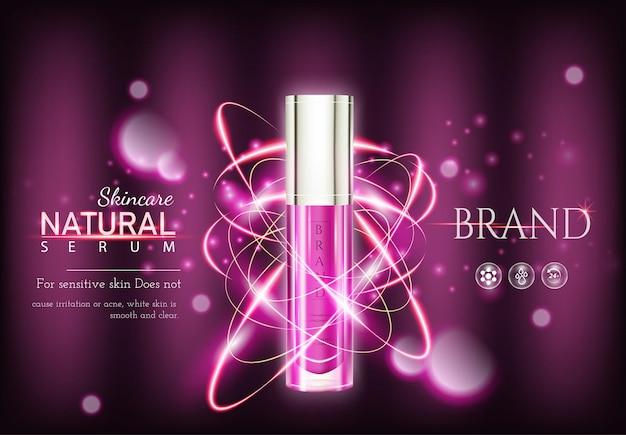 Anúncios de cosméticos hidratantes e fundo rosa de produtos para a pele de garrafas com efeito de luz premium e flores