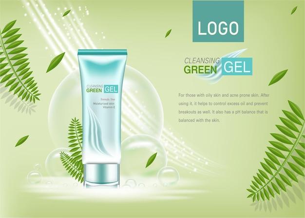 Anúncios de cosméticos ou produtos com folhas verdes e efeito de luz cintilante de fundo verde