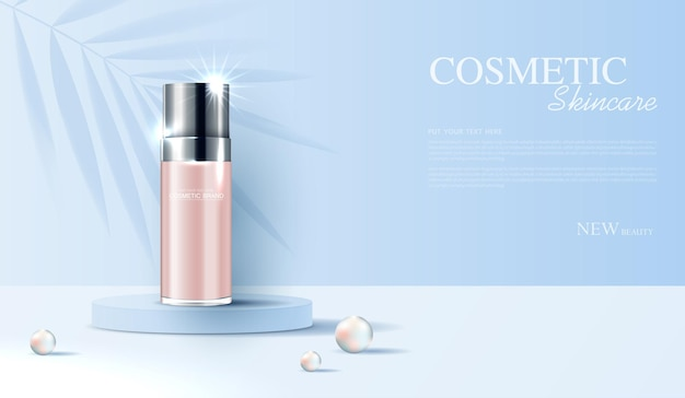 Anúncios de cosméticos ou produtos para a pele com banner de garrafa para folhas e pérolas de produtos de beleza