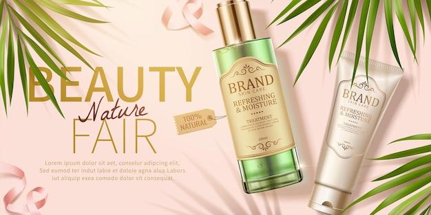 Anúncios de cosméticos para a pele com folhas de palmeira e fitas na ilustração 3d