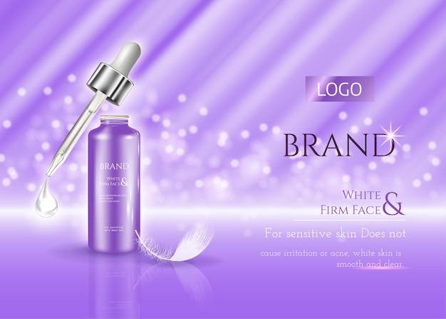 Anúncios de cosméticos para a pele, frasco de creme de vetor realista e tubo de soro com cosméticos em roxo brilhante