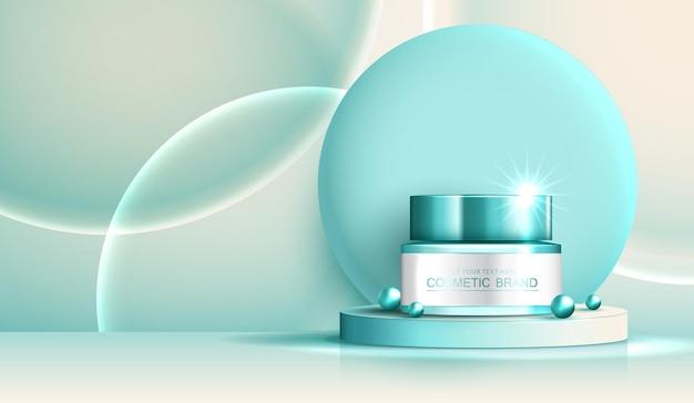 Anúncios de cosméticos para spa ou produtos para a pele com banner de garrafa para pérolas e bolhas de produtos de beleza
