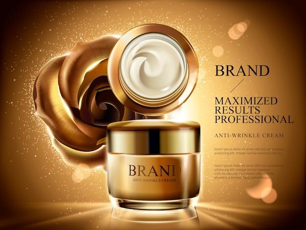 Anúncios de creme anti-rugas, frasco de creme cosmético com luz estourada, brilhos e rosa dourada e plano de fundo na ilustração