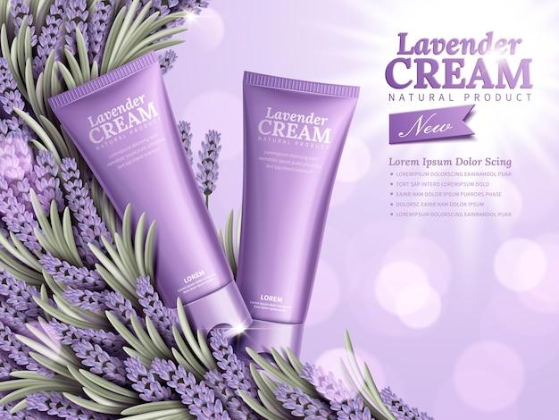 Anúncios de creme de lavanda, produtos naturais para a pele com embalagem roxa e elemento de lavanda no fundo bokeh na ilustração