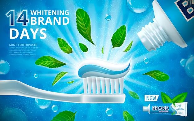 Anúncios de creme dental branqueador com folhas de hortelã
