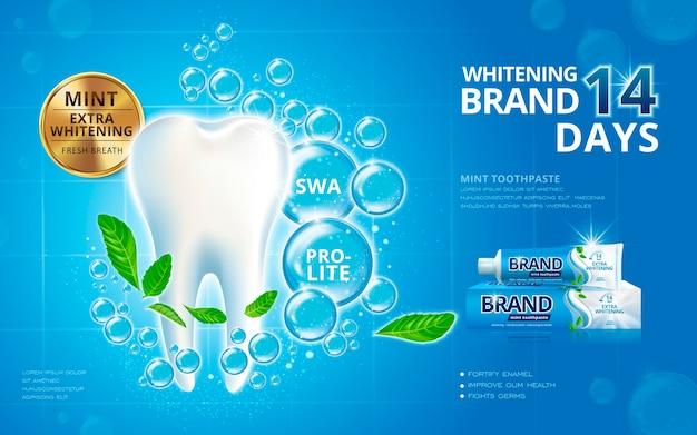 Anúncios de creme dental clareador com dente branco cintilante