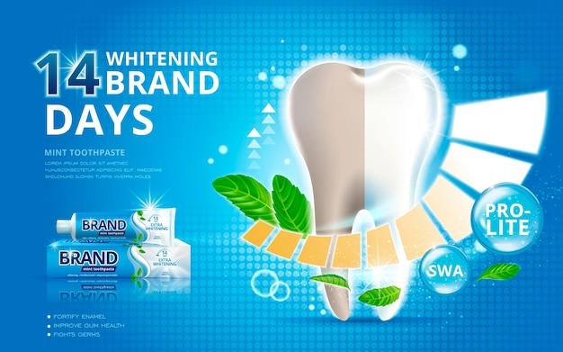 Anúncios de creme dental clareador com efeito