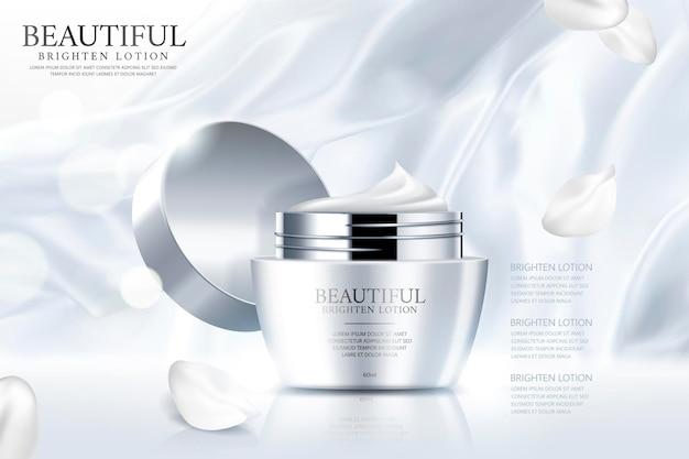 Anúncios de creme facial com cetim liso branco pérola e pétalas em ilustração 3d