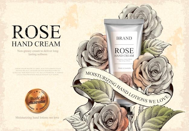 Anúncios de creme para as mãos em rosa, produto requintado de creme para as mãos e rótulo dourado na ilustração com rosas em estilo sombreado a água-forte