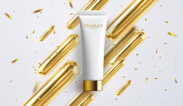 Anúncios de creme, tubo branco pérola com líquido de textura cremosa na ilustração 3d isolada no fundo do bokeh de brilho