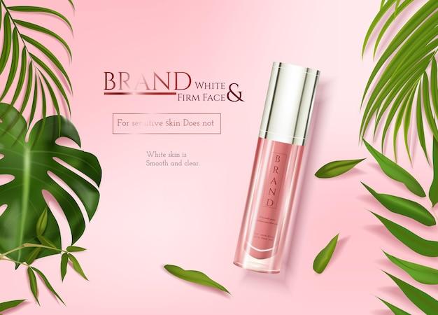 Anúncios de cuidados com a pele com decoração de folhas tropicais em fundo de elemento rosa na ilustração 3d
