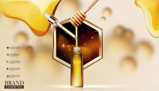 Anúncios de cuidados com a pele com soro de mel. produtos de embalagem.