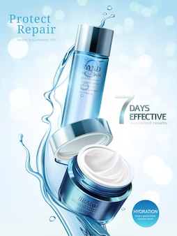 Anúncios de cuidados com a pele, loções e cremes em embalagens azul claro com respingos de líquido