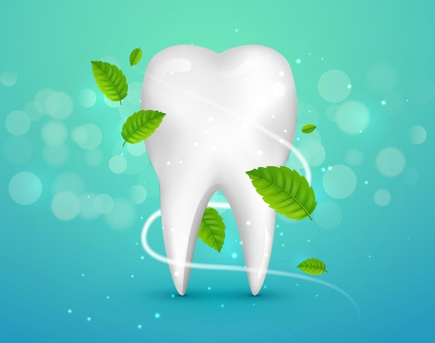 Anúncios de dente de clareamento, com folhas de hortelã sobre fundo verde. conceito de folhas de hortelã verde fresco limpo. saúde dos dentes.