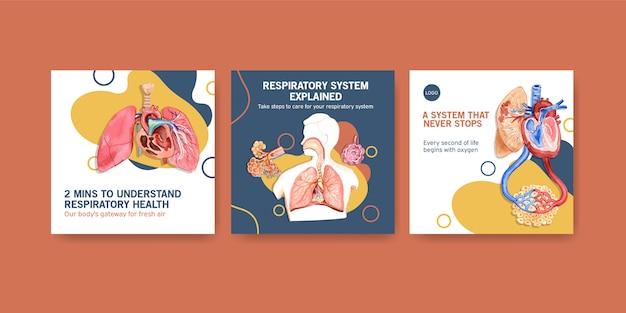 Anúncios de design de modelo com anatomia humana do pulmão e respiratório