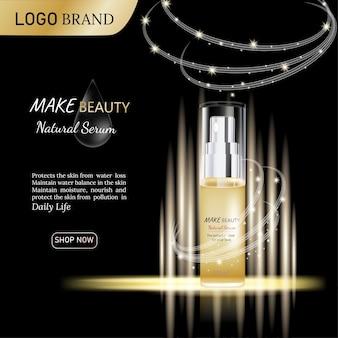Anúncios de design e publicidade de produtos cosméticos em ouro luxuoso e fundo preto e efeito de luz