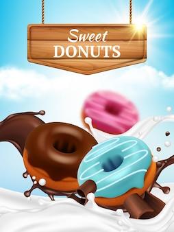 Anúncios de donuts. deliciosos produtos doces redondos de padaria em salpicos de chocolate com gotas de donuts matinais