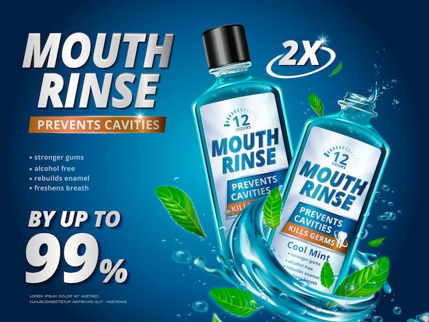 Anúncios de enxágue bucal, produtos refrescantes de enxaguante bucal com folhas de hortelã e respingos de líquidos na ilustração 3d
