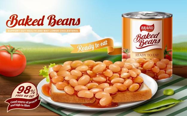 Anúncios de feijão cozido com deliciosos feijões na torrada, bokeh de fundo natural na ilustração 3d
