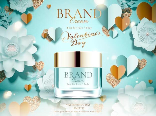 Anúncios de frasco de creme em promoção do dia dos namorados em fundo de flores de papel azul claro, ilustração 3d