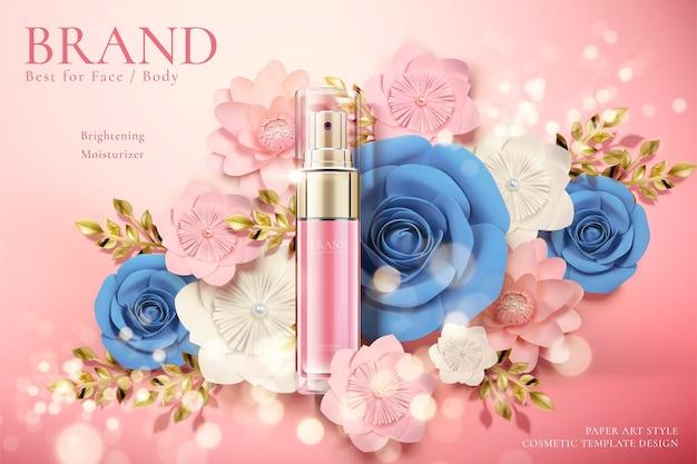 Anúncios de frascos de spray cosmético com flores de papel em ilustração 3d, fundo brilhante bokeh