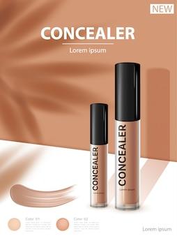 Anúncios de fundação compactos, produto essencial para maquiagem atraente