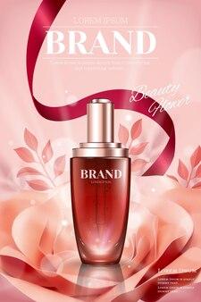 Anúncios de garrafa de gota com rosa de papel romântica e fitas na ilustração 3d