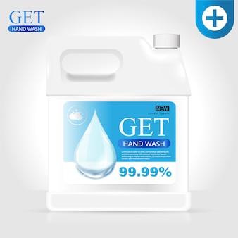 Anúncios de gel de lavagem de mão médica, limpar a garrafa na ilustração 3d