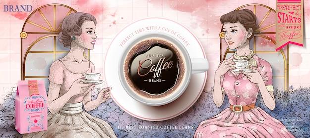 Anúncios de grãos de café com mulheres retrô tomando chá da tarde juntas em estilo desenhado à mão