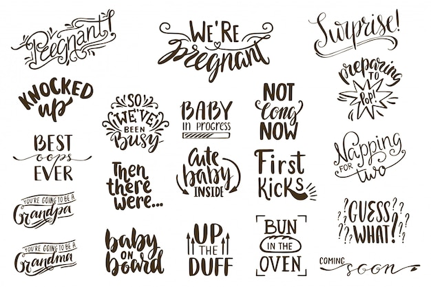 Anúncios de gravidez lettering coleção