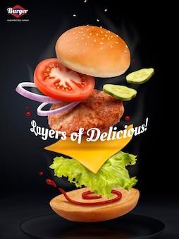 Anúncios de hambúrguer de salto, hambúrguer delicioso e atraente com ingredientes refrescantes em ilustração 3d em fundo preto