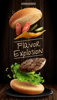 Anúncios de hambúrgueres deliciosos com ingredientes voadores em fundo de madeira