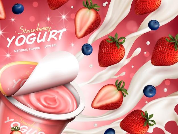 Anúncios de iogurte de frutas, iogurte aberto apetitoso com creme, morango e mirtilo flutuando no ar, ilustração 3d isolada