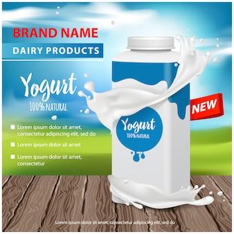Anúncios de iogurte, garrafa de plástico quadrada e pote redondo com respingo de iogurte, ilustração para web ou revista