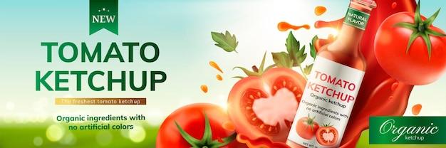 Anúncios de ketchup de tomate com salpicos de molho e frutas no fundo do bokeh, ilustração 3d