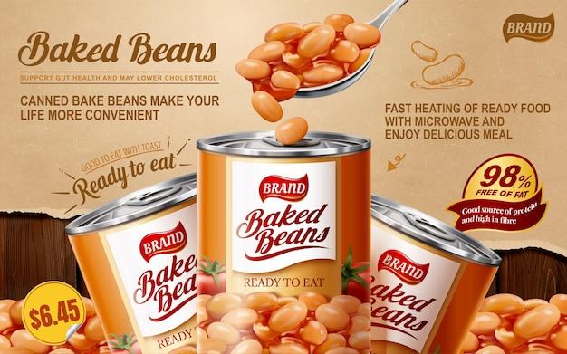 Anúncios de lata de feijão cozido em papel rasgado e fundo de mesa de madeira, ilustração 3d