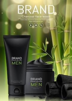 Anúncios de lavagem facial de homens a carvão em fundo de floresta de bambu em ilustração 3d
