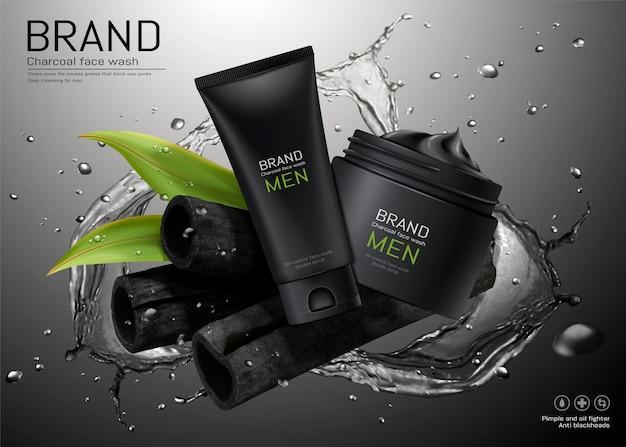 Anúncios de lavagem facial para homens a carvão com efeito de respingos de água na ilustração 3d