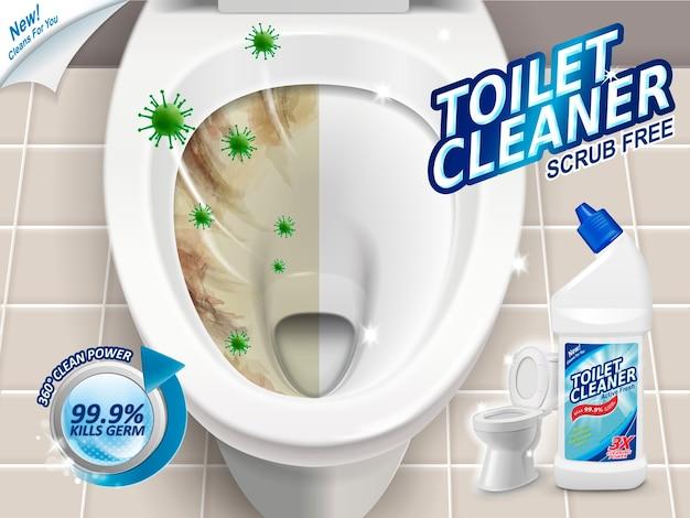 Anúncios de limpador de banheiro com efeito antes e depois