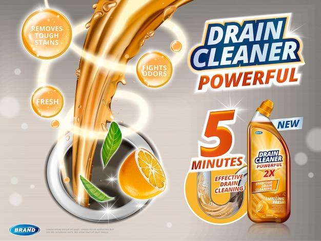 Anúncios de limpeza de drenos, líquido escorrendo para o ralo com perfume de laranja, frasco de detergente na ilustração 3d