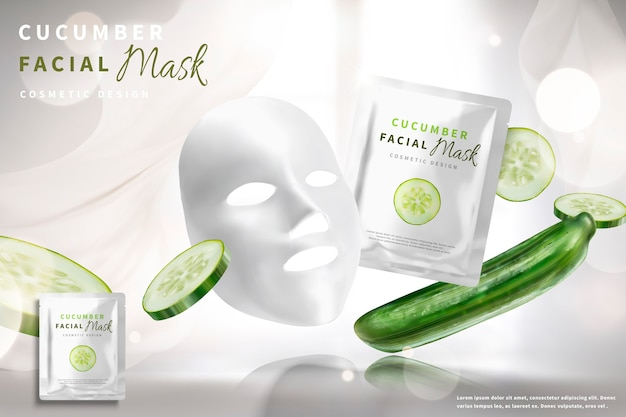 Anúncios de máscara facial de pepino com ingredientes em fundo branco bokeh