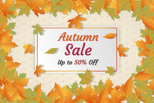 Anúncios de mídia social de desconto de banner de venda outono
