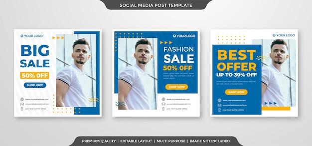Anúncios de mídia social postam modelo de estilo premium