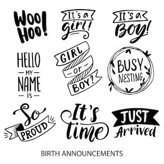 Anúncios de nascimento que rotulam coleção