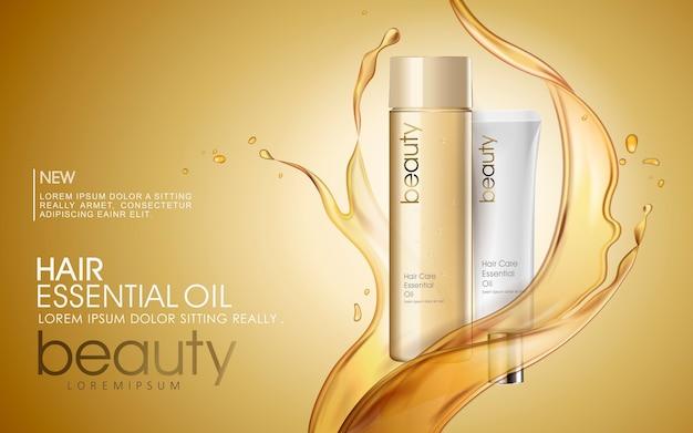 Anúncios de óleo de cabelo dourado com respingos de óleo essencial