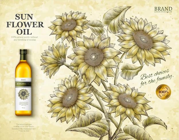 Anúncios de óleo de girassol, produto de óleo de cozinha requintado em ilustração com girassóis estilo sombreado retro-gravura