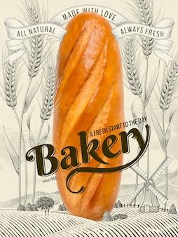 Anúncios de padaria retrô, delicioso pão francês gigante em ilustração com campo de trigo e paisagem campestre em estilo sombreado de gravura