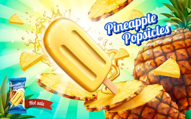 Anúncios de picolés de abacaxi, sorvete de frutas frescas de verão com respingos de suco e carne isolada em fundo listrado