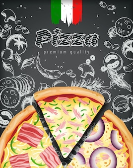 Anúncios de pizza italiana ou menu gravado estilo giz doodle fundo.
