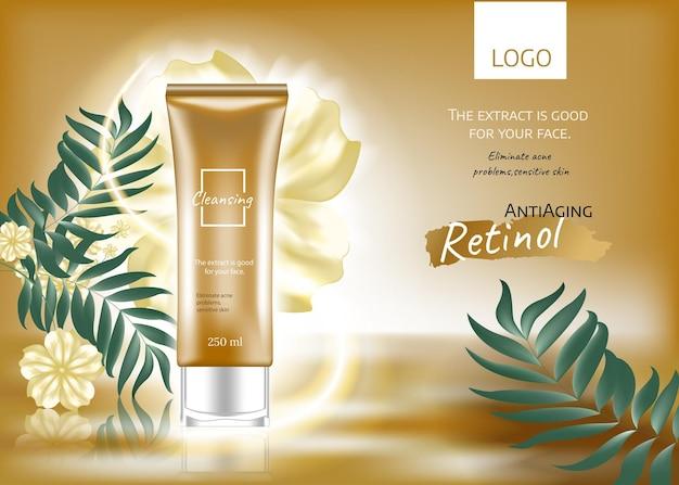 Anúncios de produtos cosméticos, cor com efeito de luz dourada e cosmético de garrafa com luzes cintilantes em 3d